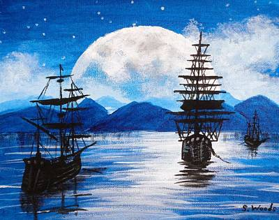 Pirate Ship Painting - Midnight Sailing Ships by Sharon  Woods