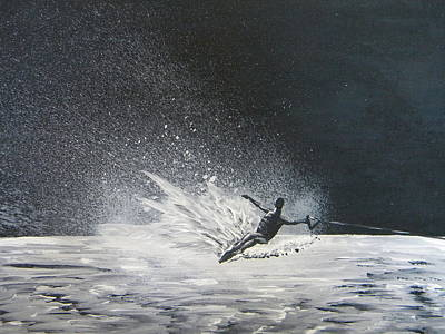 Skiing Action Painting - Midnight Ski by Eric Johansen