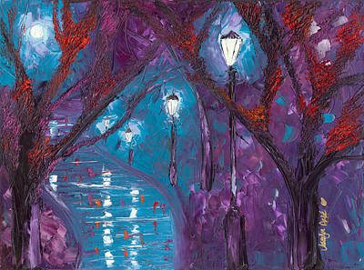 Night Lamp Painting - Midnight Soliloquy  by Jessilyn Park