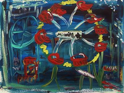 Ferris Wheel Drawing - Midnight Star Ferris Wheel by Mary Carol Williams