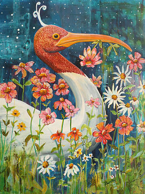 Stork Painting - Midnight Stork Walk by Blenda Studio