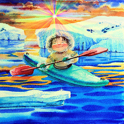 Kids Sports Art Painting - Midnight Sun Kayaker by Hanne Lore Koehler