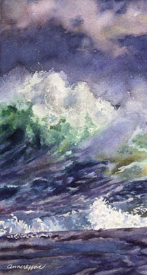 Crashing Wave Painting - Midnight Surf by Anne Gifford