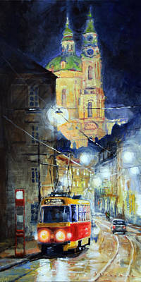 Midnight Tram  Prague  Karmelitska Str Art Print by Yuriy Shevchuk