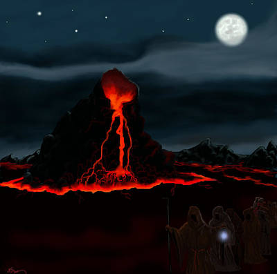 Midnight Volcano Art Print by Brad Simpson