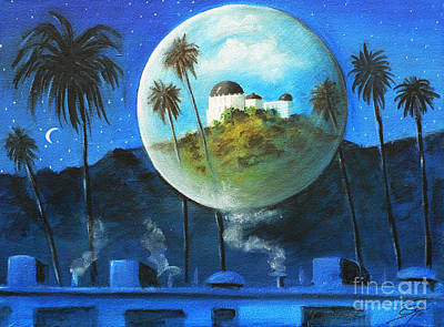 City Scape Painting - Midnights Dream In Los Feliz by S G