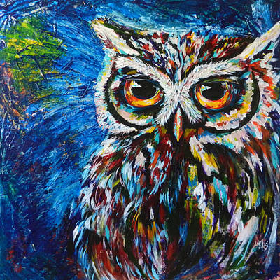 Pygmy Owl Wall Art - Painting - Midnite Owl by Lovejoy Creations