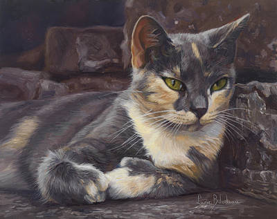 Calico Cat Painting - Midsummer Day by Lucie Bilodeau
