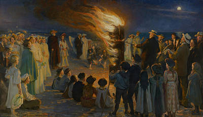 Midsummer Eve Bonfire On Skagen Beach  Art Print by Celestial Images