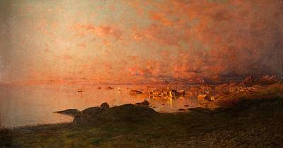 Midsummer Night, Lofoten, Norway Art Print by Adelsteen Normann