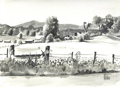 Arcadia Valley Drawing - Midsummer View Out Route Jj   No I101 by Kip DeVore