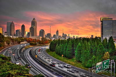 Photograph - Midtown Atlanta Autumn Sunset Art    by Reid Callaway