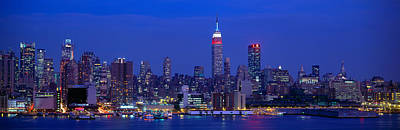 Empire State Photograph - Midtown Manhattan From Nj, Night, New by Panoramic Images