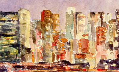 Abstract Skyline Painting - Midtown Manhattan Skyline At Dusk Watercolor Painting Of Nyc by Beverly Brown Prints
