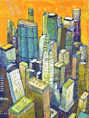 Chrysler Building Mixed Media - Midtown Manhattan With Chrysler Building  by Habib Ayat