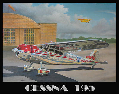 Piper Cub Painting - Midwest Airlines Cessna 195 by Stuart Swartz