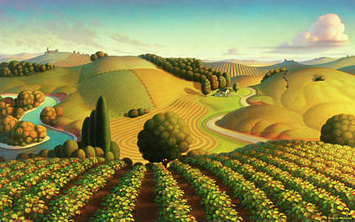 Folk Realism Painting - Midwest Vineyard by Robin Moline