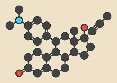 Mifepristone Molecule Art Print by Molekuul