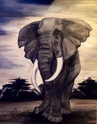 Monotone Painting - Mighty Elephant  by Nicole  Kindred