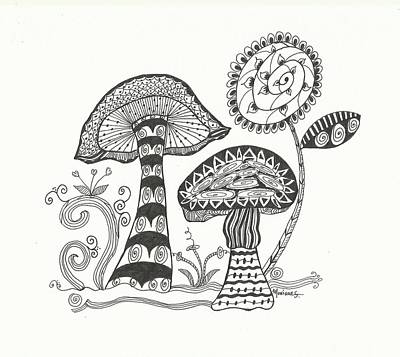 Nature Abstract Drawing - Mighty Mushrooms by Monique Skellenger