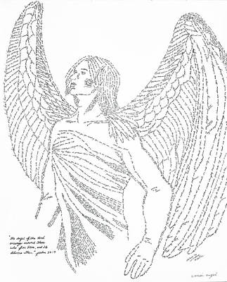 Drawing - Mighty Warrior Angel by Lorraine Foster