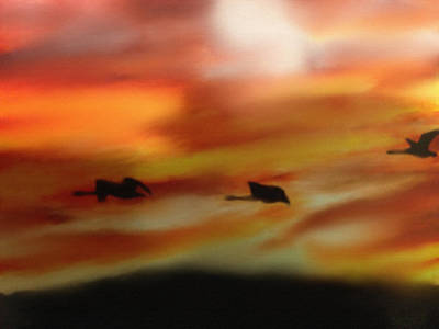 Canadian Geese Mixed Media - Migration by Dennis Buckman