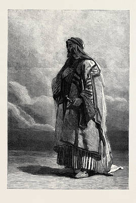 Water Colour Drawing - Miguel El Musrab Sheikh Of The Anazeh Tribe by Haag, Carl (1820-1915), German