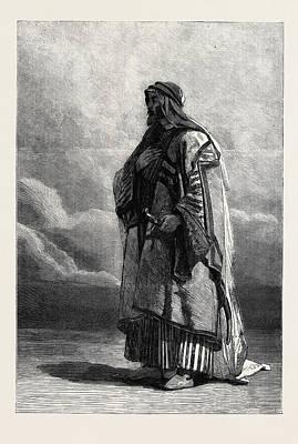 Miguel Art Drawing - Miguel El Musrab Sheikh Of The Anazeh Tribe by Haag, Carl (1820-1915), German