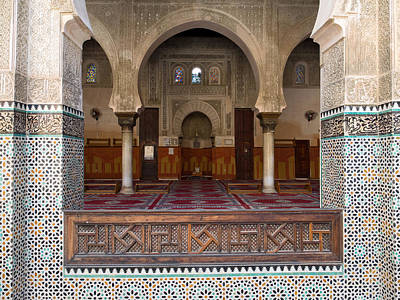 Moroccan Photograph - Mihrab Of The Bou Inania Madrasa, Fes by Panoramic Images