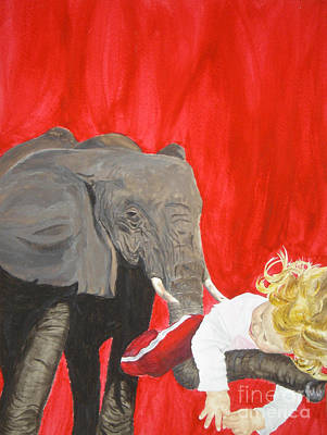 Painting - Mika And Elephant by Tamir Barkan