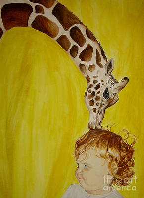 Painting - Mika And Giraffe by Tamir Barkan