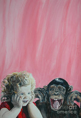 Painting - Mika And Monkey by Tamir Barkan