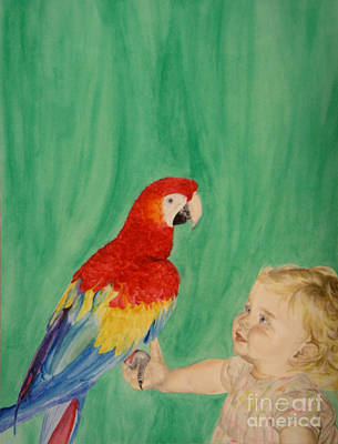 Painting - Mika And Parrot by Tamir Barkan