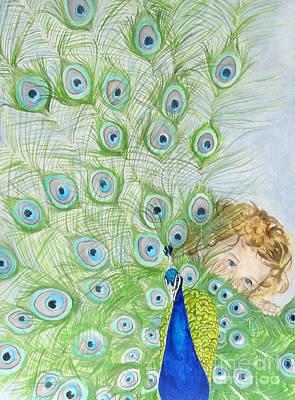 Mika And Peacock Art Print by Tamir Barkan
