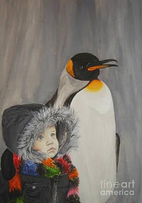 Mika And Penguin Art Print by Tamir Barkan
