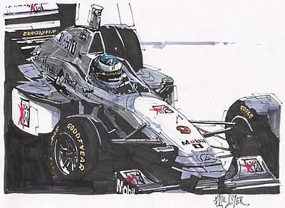 Mercedes Automobile Drawing - Mika Hakkenin Mclaren Mercedes British Grand Prix by Paul Guyer