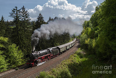 Train Photograph - Mikado German Class 41 At The Schiefe Ebene by Christian Spiller
