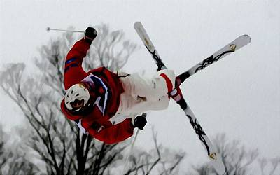 Skiing Action Painting - Mikael Kingsbury Skiing by Lanjee Chee
