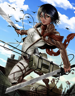Painting - Mikasa Ackerman by Pete Tapang