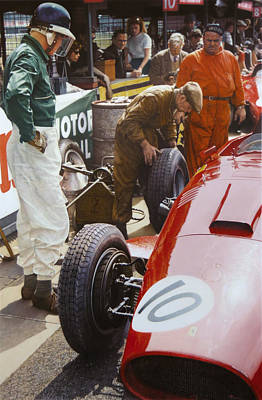 Painting - Mike Hawthorn Ferrari 801  Aintree 1957 by Alberto Ponno