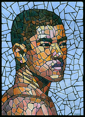 Colored Pencil Portrait Drawing - Mike In Mosaic by Douglas Simonson