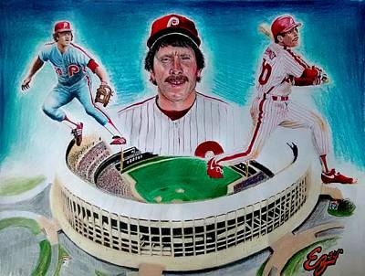 Baseball Uniform Drawing - Mike Schmidt by Ezra Strayer
