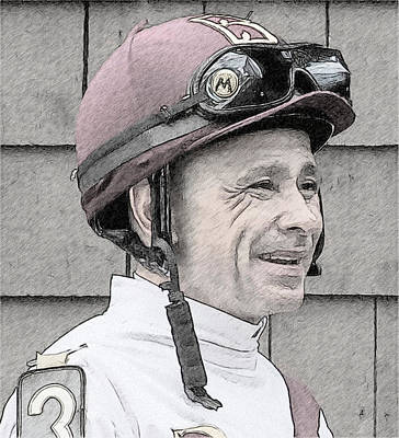 Racetrack Drawing - Mike Smith Portrait by Alice Gipson