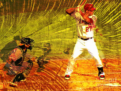 Mike Trout At Bat Art Print by Robert Ball