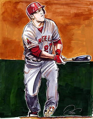 Baseball Drawing - Mike Trout by Dave Olsen
