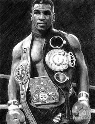 Mike Tyson Pencil Drawing Art Print
