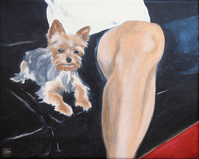 Painting - Mikedog With John's Knee by Stan Magnan