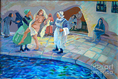Jewish Humor Painting - Mikvah by Shirl Solomon
