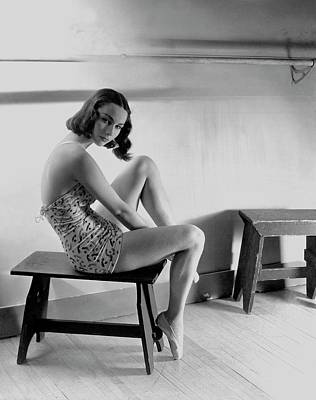 Photograph - Milada Mladova Sitting On A Stool by Horst P. Horst