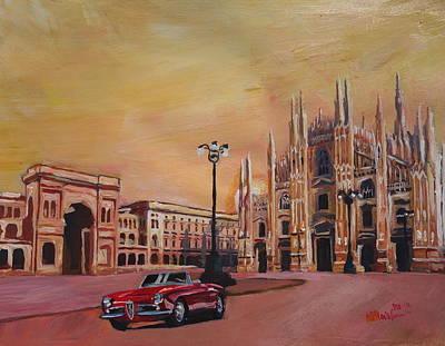 Milan Cathedral With Oldtimer Convertible Alfa Romeo Art Print